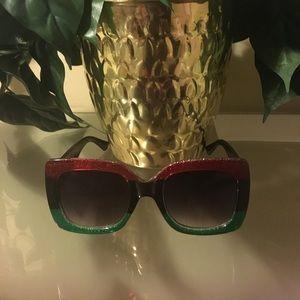 Gucci Designer Black Red Green Women's Sunglasses